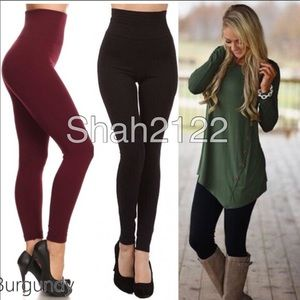 Pants - High waist fleece lined leggings basic ONE SIZE